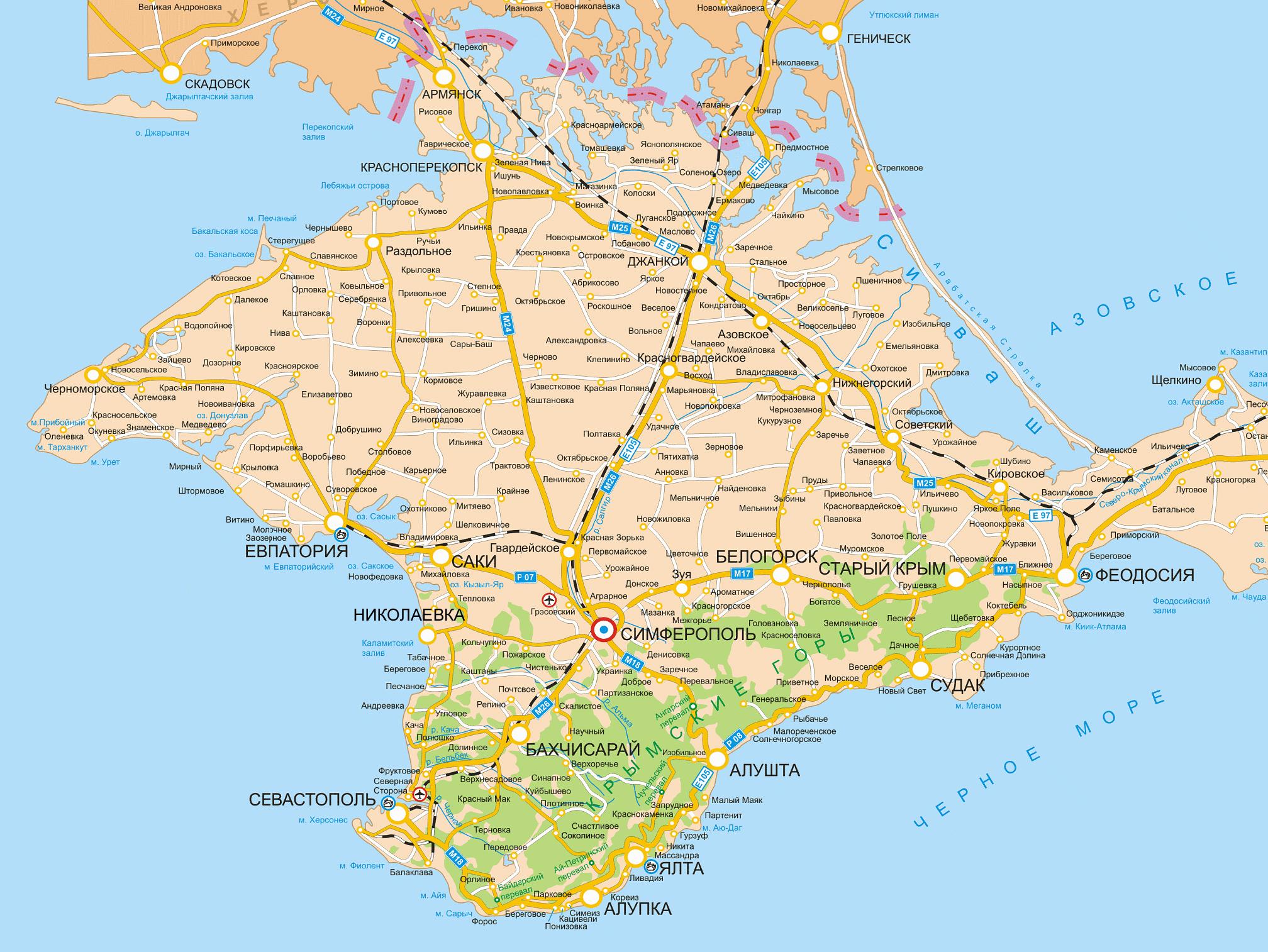 Карта Крыма с городами и поселками в прибрежной зоне