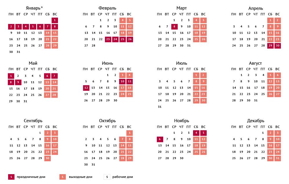 Календарь 2017 года с праздничными днями и выходными днями