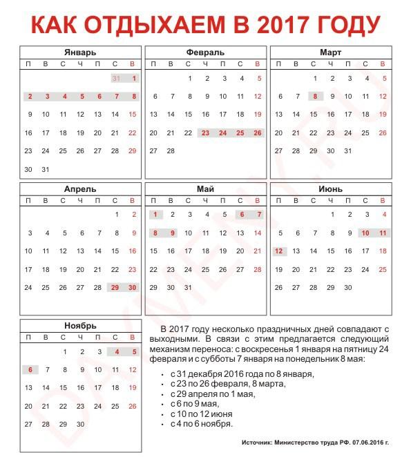 Новый год выходные в 2017