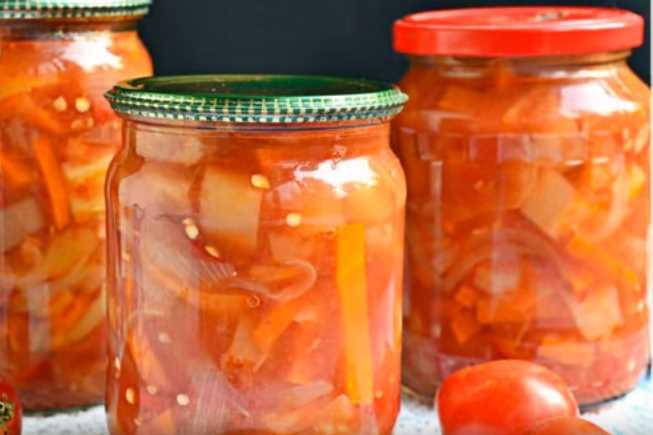 Лечо с томатной пастой на зиму из болгарского перца